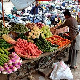 Imran Ahmed - Fruit and vegetable seller tends to his cart outside Empress Market Karachi Pakistan