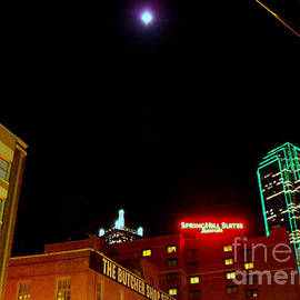 ARTography by Pamela  Smale Williams - Full Moon Over Dallas Skyline