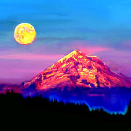Bob and Nadine Johnston - Full Moon Rising over Mount Hood Oregon