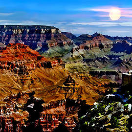 Bob and Nadine Johnston - Full Moon Rising Yaki Point South Rim Grand Canyon National Park Arizona