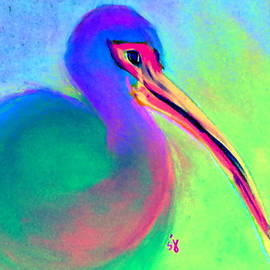 Sue Jacobi - Funky Colorful White Ibis Art Print