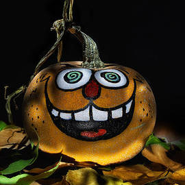 Wendy Thompson - Funny Whimsical Halloween Pumpkin in a Bed of Fall Leaves