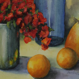 Maria Hunt - Geraniums with Pear and Oranges