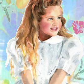 Greta Corens - Girl in a white lace dress