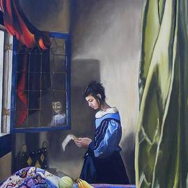 Alan Berkman - Girl Reading a Letter By A Window