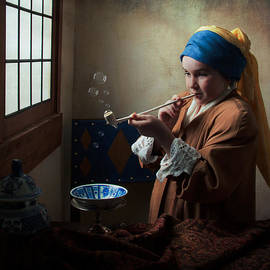 Levin Rodriguez - Girl with a Pearl Earring blowing bubbles