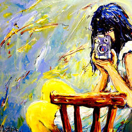 Mathias - Girl With Camera - Yellow And Blue