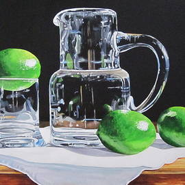 Lillian  Bell - Glass pitcher and limes