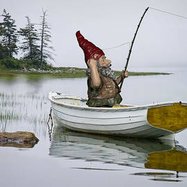 Randall Nyhof - Gnome Fisherman in a White Maine Boat on a Foggy Morning