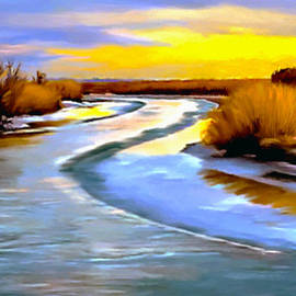 Nadine Johnston - Golden Glow Frozen Bear River Utah