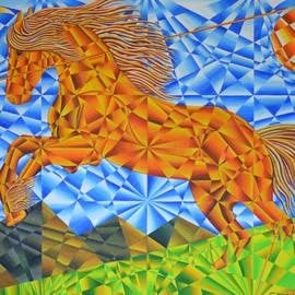 Joseph J Stevens - Golden Horse Over the Bitterroot