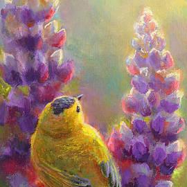 Karen Whitworth - Golden Light 1 Wilsons Warbler and Lupine