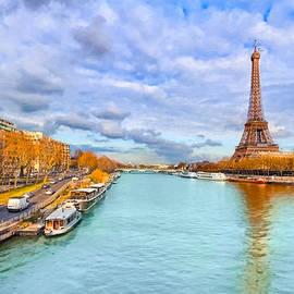 Mark E Tisdale - Golden Paris - Eiffel Tower On The Seine