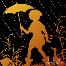 Rose Santuci-Sofranko - Golden Silhouette of Child and Geese Walking in the Rain