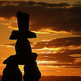 Brian Chase - Golden Sunset and Inukshuk
