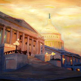 M Bleichner - Golden United States Capitol In Washington D.C.