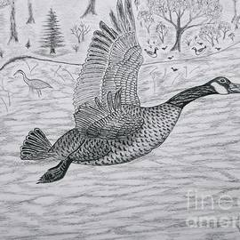 Gerald Strine - Goose in flight detail from Canadian Greetings