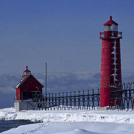 Randall Nyhof - Grand Haven Michigan Lighthouse in Winter