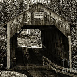 Mary Carol Story - Grange City Covered Bridge - Sepia