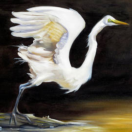 Phyllis Beiser - Great Egret Lift Off