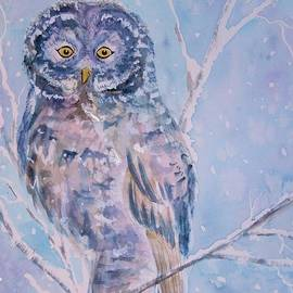 Ellen Levinson - Great Gray Owl in Blue and Purple