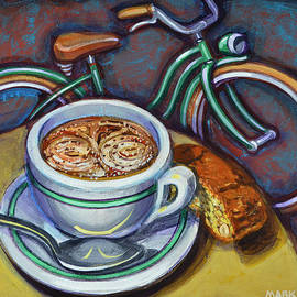 Mark Howard Jones - Green Schwinn bicycle with cappuccino and biscotti.