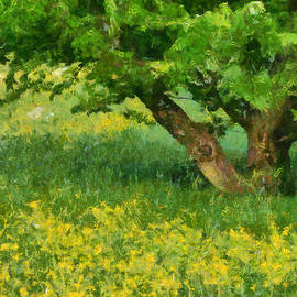 Matthias Hauser - Green spring meadow with yellow flowers and tree - digital painting