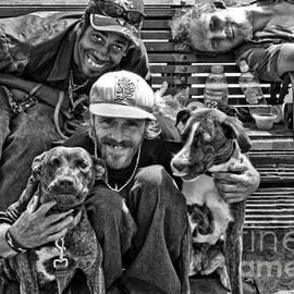 Kathleen K Parker - Guys Dogs Bench in Jackson Square - bw