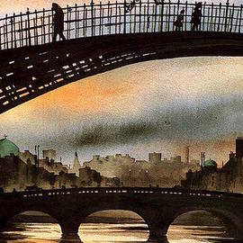 Val Byrne - Ha Penny Bridge  Sunset  Dublin