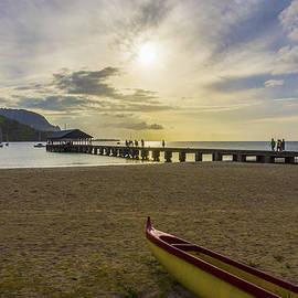 Brian Harig - Hanalei Bay Pier Outrigger Canoe Sunset - Kauai Hawaii