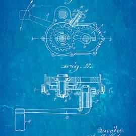 Ian Monk - Harley Davidson Kick Starter Patent Art 1916 Blueprint