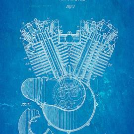 Ian Monk - Harley Davidson V Twin Engine Patent Art 1923 Blueprint