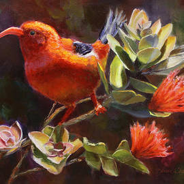 Karen Whitworth - Hawaiian Iiwi Bird and Ohia Lehua Flower
