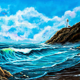 Nadine Johnston - Heceta Head Lighthouse Oregon Coast Original Painting ForSale