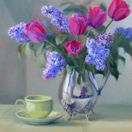 Bonnie Mason - Heirlooms- Lilacs and Tulips in a Silver Pitcher