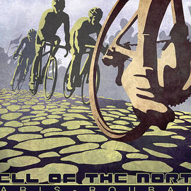 Sassan Filsoof - HELL OF THE NORTH retro cycling illustration poster