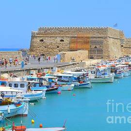 Ana Maria Edulescu - Heraklion Old Harbor Boats In Front Of Koules Venetian Fortress