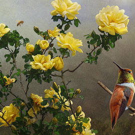 R christopher Vest - Hog Heaven Yellow Roses Hummer And Bee