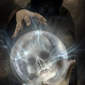 Jaroslaw Blaminsky - Hooded man wearing dark cloak holding glowing crystall ball with human skull image inside