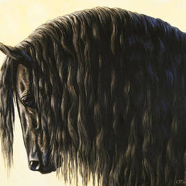 Crista Forest - Horse Painting - Friesland Nobility