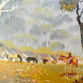 Pamela  Meredith - Horses Drinking in the Early Morning Mist