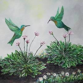 Rhonda Lee - Hummingbirds and Hostas
