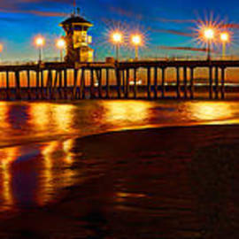 Jim Carrell - Huntington Beach Pier Twilight Panoramic