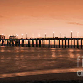 Jim Carrell - Huntington Beach Pier - Twilight Sepia