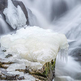 Stroudwater Falls Photography - Ice Over Algae With A Touch Of Blur