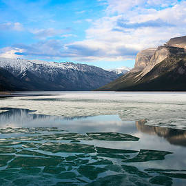 Icy water and mountain