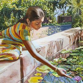 Dominique Amendola - Indian girl near the waterlilies