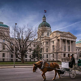 Indiana Capital Building - Front with Horse Passing