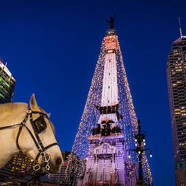 Indiana - Monument Circle with Lights and Horse