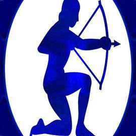 Omaste Witkowski - Indigo Archer Abstract Astrological Chakra Art by Omaste Witkows
